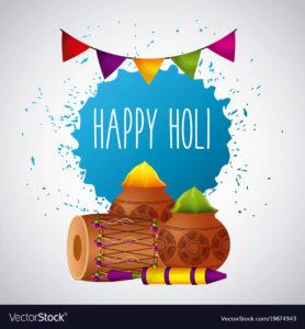 happy holi festival color celebration card