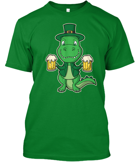 Irish T Rex Beer St Patrick's Day Bright Green T-Shirt Front