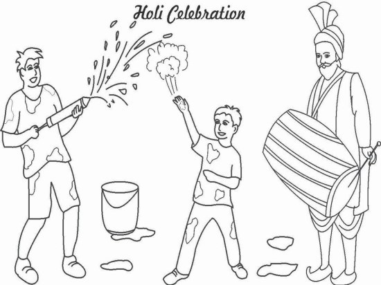 Latest Holi Coloring Pages