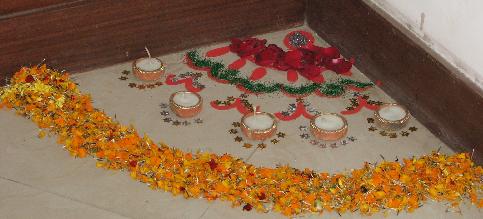 Corner Rangoli Diwali decoration