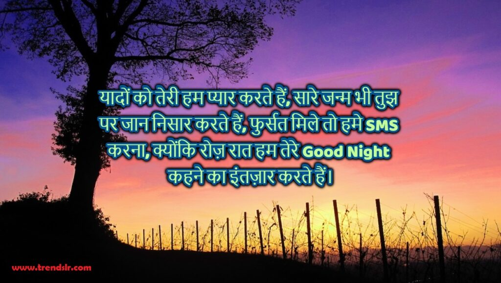good night msg in hindi