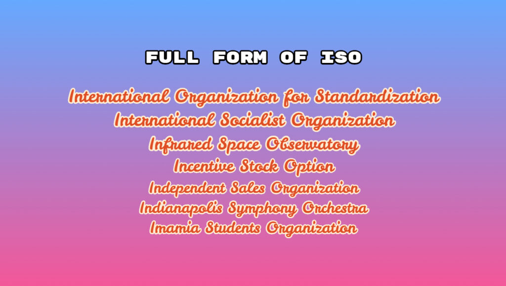 Full Form of ISO - What is the need for ISO