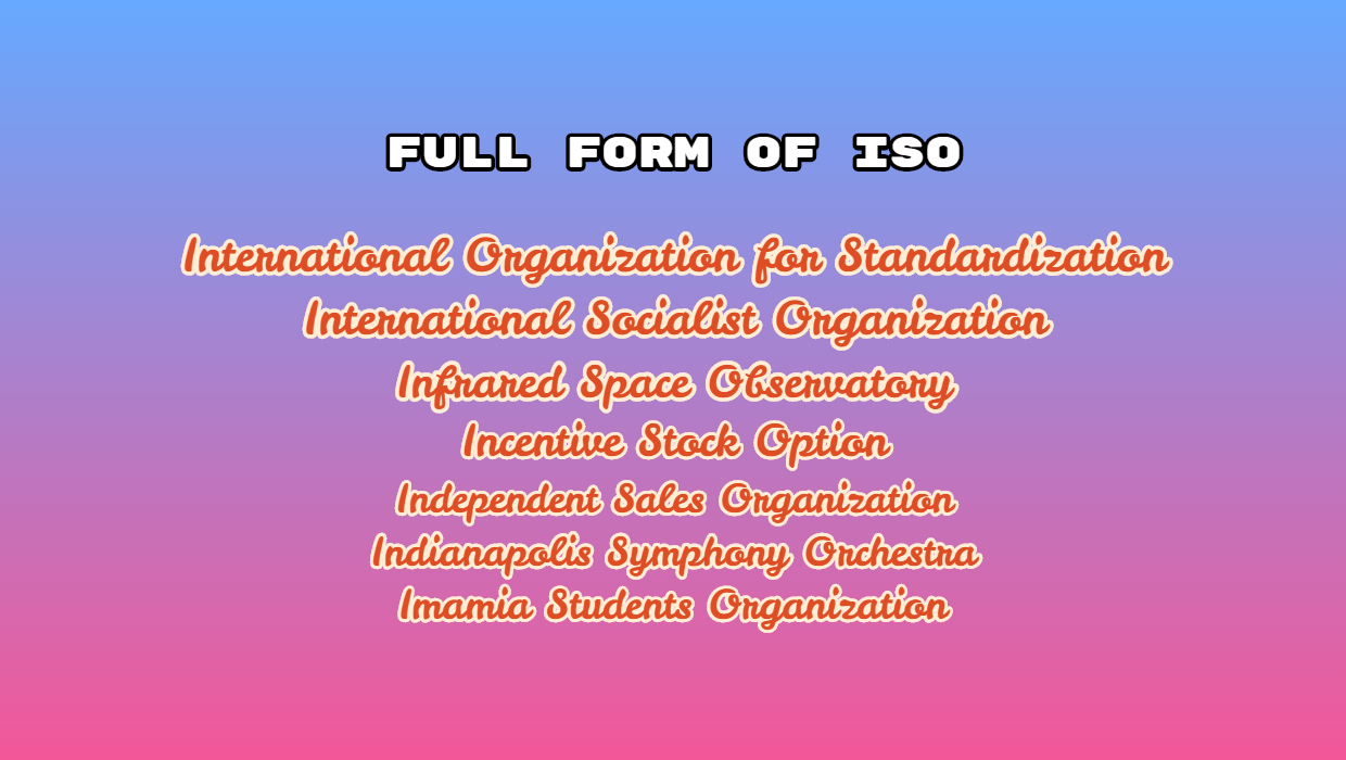 Full Form of ISO – What is the need for ISO?