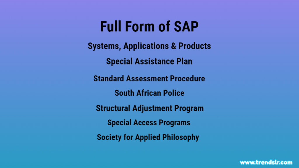 Full Form of SAP - Abbreviation - Acronym
