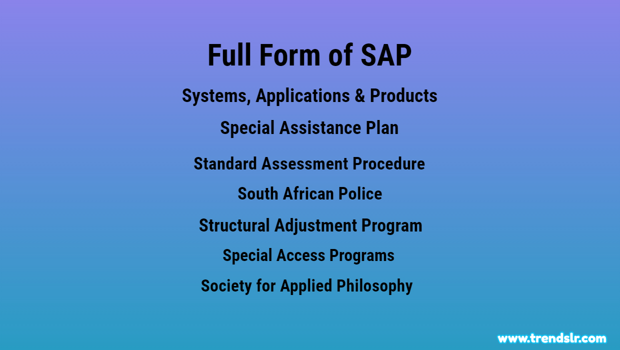 Full Form of SAP – Abbreviation – Acronym