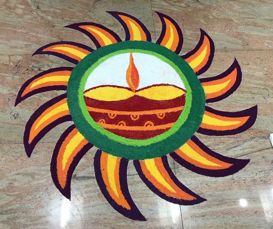 diwali rangoli with pattern